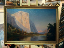 """Репродукция картины.  Гилберт Мюнгер """"Озеро в горах"""""""