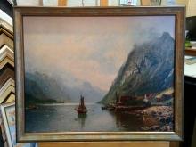 Репродукция картины. Андерс Асвевольд -  Горный пейзаж и Норвежский фьорд среди заснеженных горных вершин