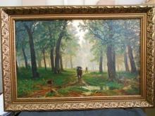 Репродукция картины. Шишкин Иван Иванович - Дождь в дубовом лесу