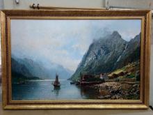 """Репродукция картины. Андерс Аскевольд """"Норвежский фьерд среди заснеженных горных вершин"""""""