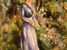 1145_60х48 Ренуар О.- Женщина в Синем Платье, Стоящем в Саду Сен-Клу
