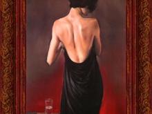 Майкл Остин - Черный драп, 35х23см 2900руб (репродукция на холсте, рама пластик