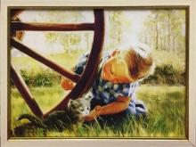 НОРД. Холст, имитация масла. 30х40 Мальчик с котом - 1900р