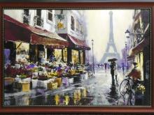 Имитация масла. 80х53 Хейтон Брент - Вечерний Париж в раме (пластик) - 6750р.