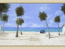 Г. Борелли - Белый песчаный пляж, 40х81см 4300руб (репродукция на холсте, рама дерево)