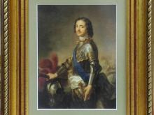 Портрет Петра I, 25х20см 1500руб (репродукция на холсте, стекло, рама пластик)