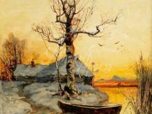 2058 _ 50х61 Ю.Ю. Клевер - Избушка на краю озера зимой
