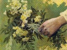 2109_40x32 Нестеров М. - Рука с букетом цветов