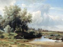 achk2312_60х33_Л. Л. Каменев - Пейзаж с рекой и рыбачком