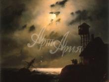2325_30х40 И. К. Айвазовский - Морской пейзаж с обломками корабля под лунным светом