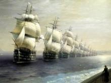 2328_80х45 И. К. Айвазовский - Смотр черноморского флота в 1849 году