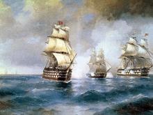 2329_75х47_Айвазовский И. К. - Бриг Меркурий, атакованный двумя турецкими кораблями