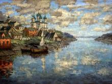 2438_60х43_К.И. Горбатов - Вид с реки на старый город. 1915