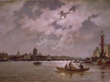 2606_80х52_А. К.Беггров - Вид на Неву и Адмиралтейской набережной