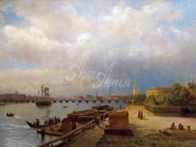 2611_80х52_Л. Ф. Лагорио - Вид на Неву и Петропавловскую крепость