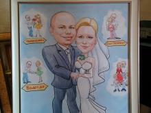 Шарж по фото оформленный в российский багет
