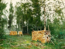 2347_70х50_А.Н. Шильдер - Весенний лес. Березовые бревна