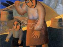 2356_60х59_К.С.Малевич - Крестьянка с ведрами и ребенком