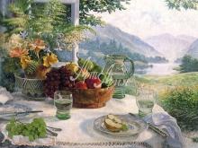 3182_60х42 С.Дарбишайер - Фрукты в оливковом блюде