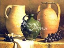 3192_43х34 Л.Спек - Виноград и керамическая посуда