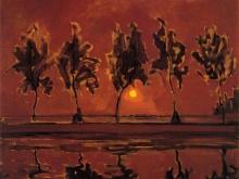 3664_50х41_Пит Мондриан - Деревья на Гейн на восходе Луны