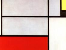 3693_60х37 Пит Мондриан -Композиция №3 с красно-оранжевым, желтым, черным и серым