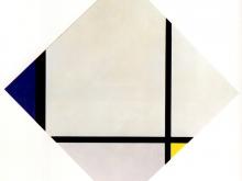 3697_50х51 Пит Мондриан - Ромбическая композиция №3. Линии с синим, серым, желтым