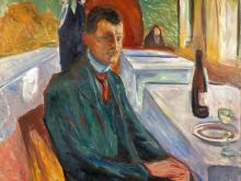 3795_60х54 Эдвард Мунк - Автопортрет с бутылкой вина