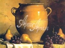 3193_43х34 Л.Спек - Глиняный кувшин с грушами и виноградом