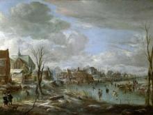 Ван Дер Неер.Замерзшая река близ деревни с гольфистами и конькобежцами
