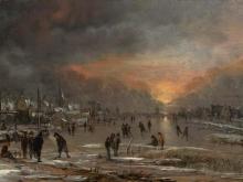 Ван дер Неер.Катание на замёрзшей реке
