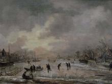 Ван дер Неер.Зимний пейзаж с домами