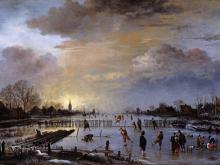 Ван дер Неер.Зимний пейзаж с конькобежцами на закате дня