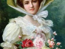 1767_100х74_Э. Вернон_Элегантная дама с букетом роз