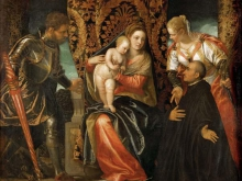 Веронезе Паоло.Мадонна с Младенцем со святым Юстинианом и бенедиктенцем
