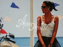 3240-50x40 Дж.Веттриано - Девушка на мотоцикле