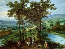 1583_90х61_Ян Брейгель (старший) - Весенний пейзаж с кортежем на аллее